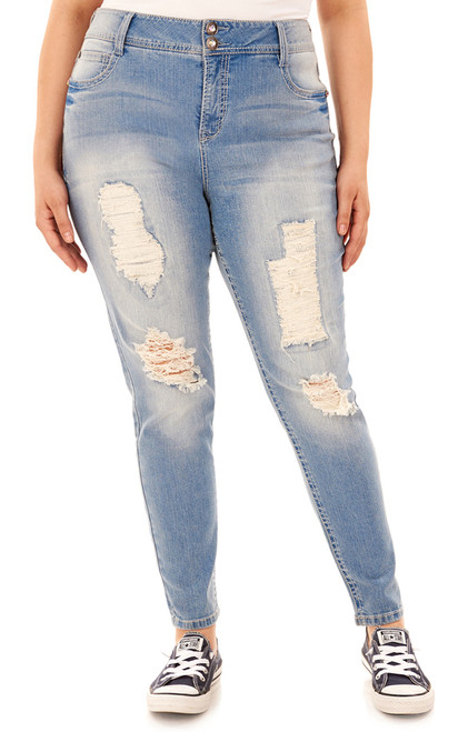 Plus Size Luscious Curvy Embellished Bootcut Jeans In Fern