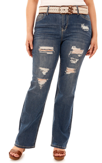 656336d9854 Plus Size Legendary Belted Bootcut Jeans In Erika