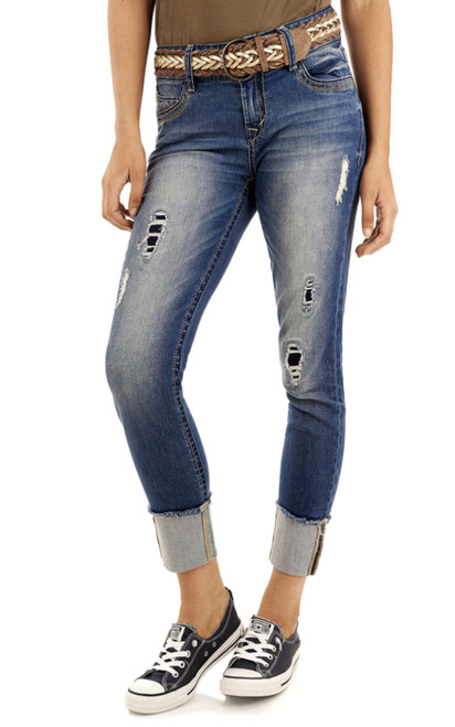Luscious Curvy Belted Ankle Jeans In Aura