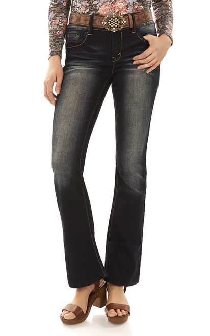 Luscious Curvy Belted Bootcut Jeans In Kaylee