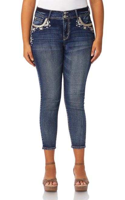 Plus Size Luscious Curvy Bling Ankle Skinny Jeans In Pixie