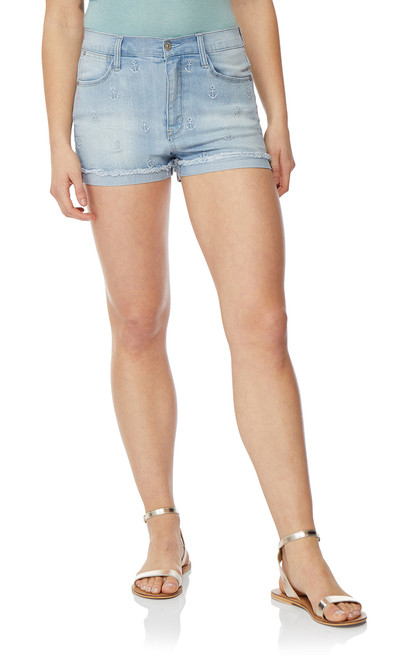 Embroidered Frayed Short Shorts In Waverly