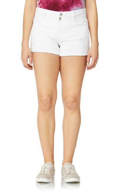 Luscious Curvy Colored Frayed Shorts In Bright White