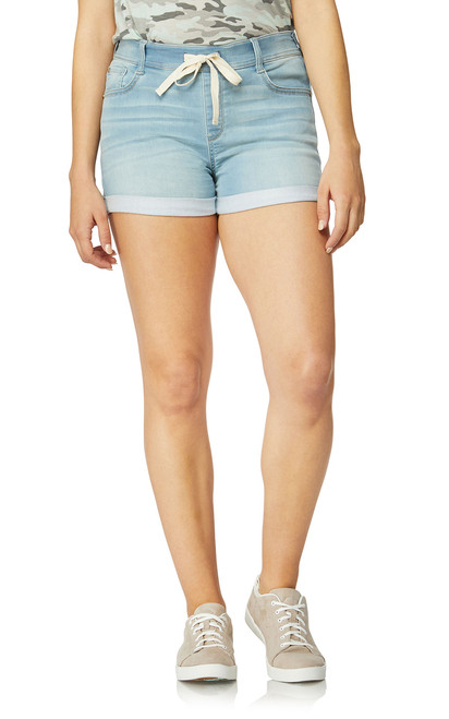 Indigo Active Pull On Denim Shorts In Sadie