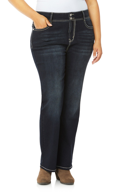 Plus Size Luscious Curvy Embellished Bootcut Jeans In Panther