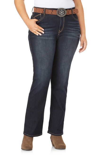 Plus Size Belted Legendary Slim Bootcut Jeans In Shay