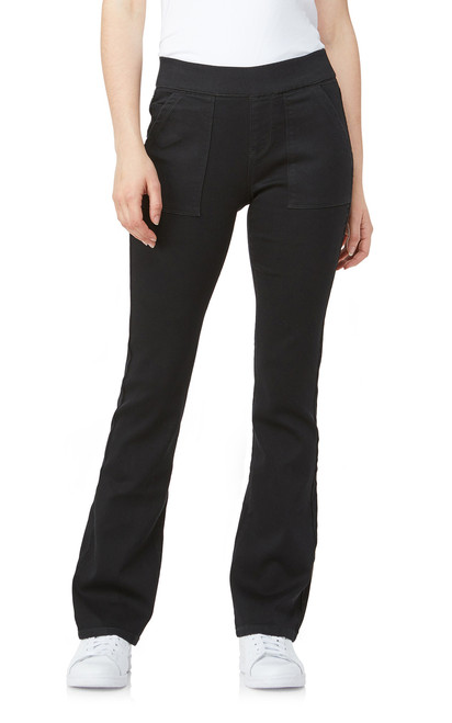 Elastic Waistband Pull On Bootcut Jeans In Black Rinse
