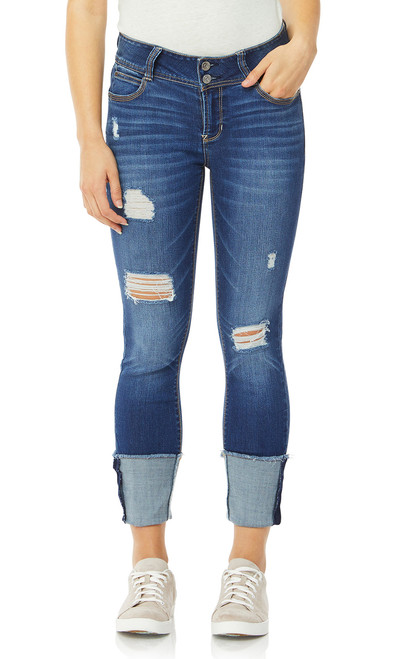 Luscious Curvy Deep Cuff Ankle Jeans In Ezra