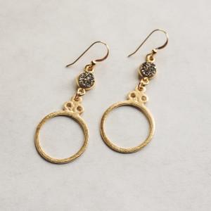 Gold Hoop and Grey Druzy Earrings