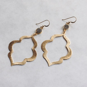 Grey Druzy and Gold Earrings