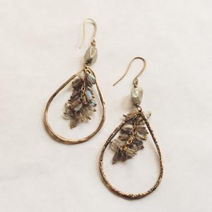 Labradorite and Brass Teardrop Earrings