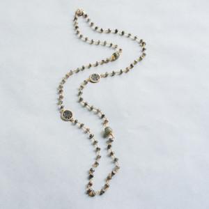 Long Labradorite and Coin Necklace