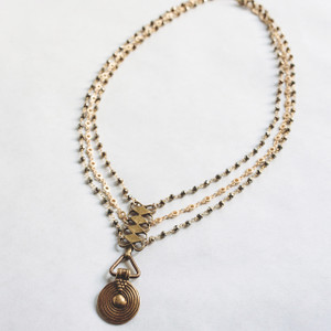 Triple Strand Gold and Pyrite Necklace