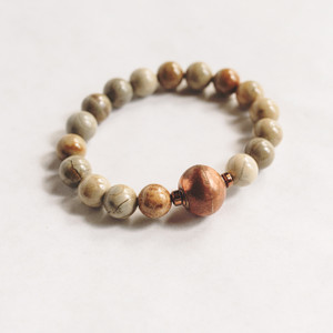 Silver Mist Jasper and African Prayer Bead Bracelet