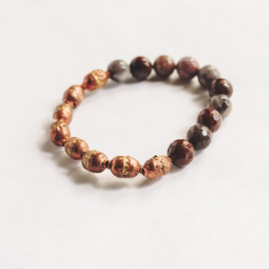 Petrified Wood and African Prayer Bead Stretch Bracelet
