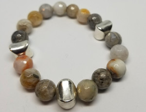 Bamboo Agate and Silver Bracelet