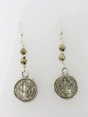 Gold and Silver Hematite with Silver Coin Earrings