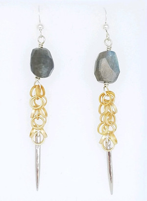 Labradorite and Mult Circle Spike Earrings