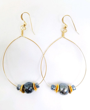 Gold Signature Hoop with Mystic Labradorite and Gold Flake Earrings