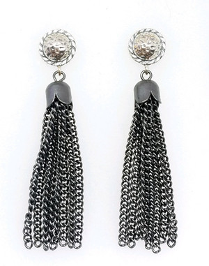 Tassel in Gunmetal and Silver Post Earrings