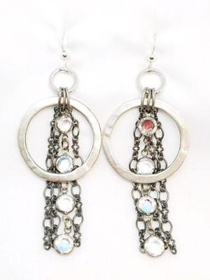 Matte Silver Hoop with Swarovski and Gunmetal Chain Earrings