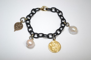 Matte Black Charm Bracelet with Brass Amulet, Coin and Baroque Pearl