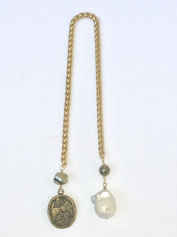 Roman Coin, Baroque Pearl, and Pyrite Interchangeable Pendant
