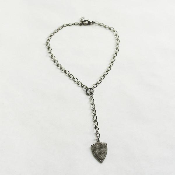 Gunmetal and CZ Shield Necklace