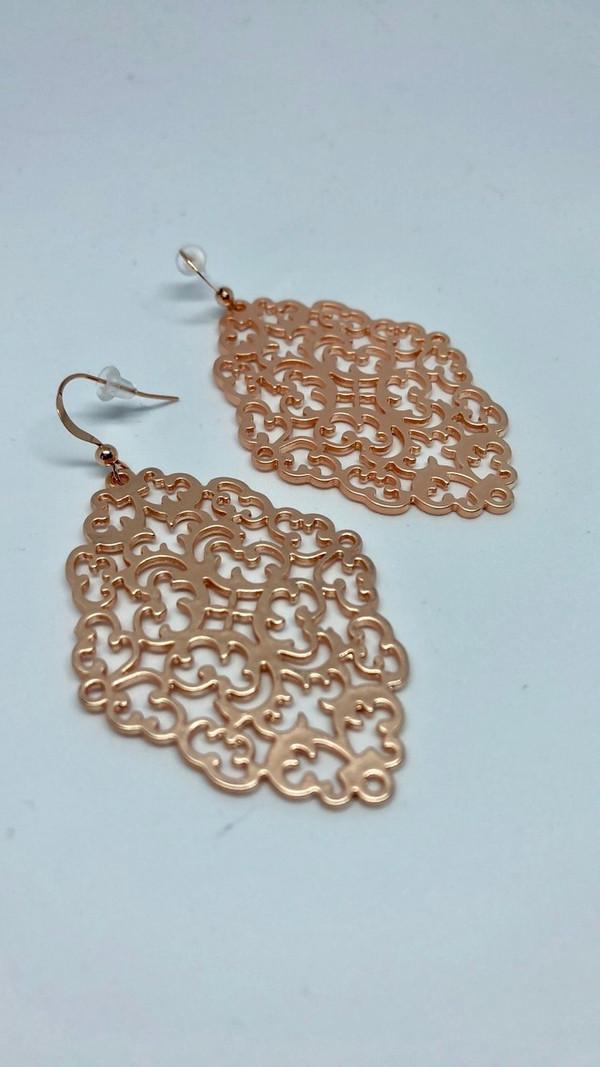 Rose Gold Filigree Earrings
