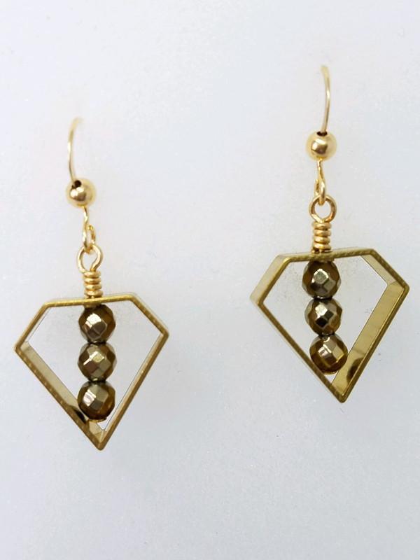 Brass Geometric Shape with Gold Hematite Earrings