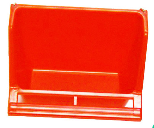 Red color 36072 Medium high back universal hanging cup is made of plastic and can either hold water or food.