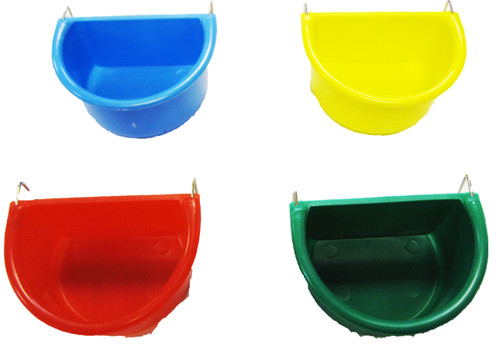 Small  D half circle universal hanging cup is made of plastic and can either hold water or food. This cup can be secured to your cage with the wire hangers for easy removal and fits most cages.