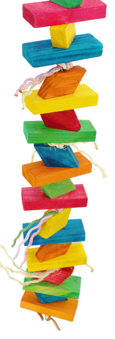 1989 Bonka Bird Toys Huge step is an awesome climb and chew toy for those beak happy large birds, multiple colored, chewable, blocks of wood are strung on a sturdy link chain and tied with colored sisal and natural jute strands.