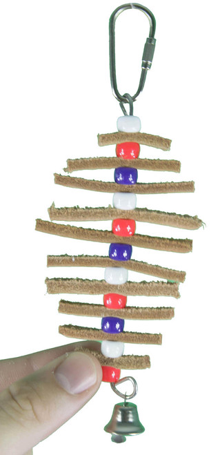 Purple color 1560 Leather tree is a super little toy for those small feathered friends in your life, strips of tanned leather are strung in a pagoda fashion with alternating colored plastic beads and finished out with a small bell.