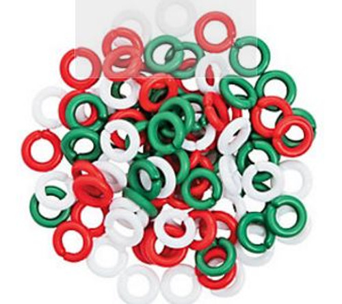 Holiday Color Links 100ct can be linked together to create a rope effect or added as a charm. The bag is filled with white, red and green circle shaped links.