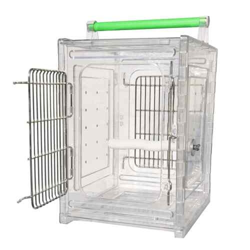 Acrylic travel cage, your bird can travel in a stress-free environment with a clear view of their surroundings. Pet owners can feel secure while traveling, by being able to monitor their bird.