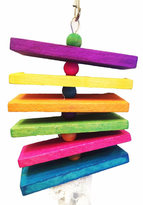 855 Small step is a chewers delight for those small birds with busy beaks, colorful wooden, chewy slats are mingled together with colorful wooden beads, soft cotton rope, and a small bell.