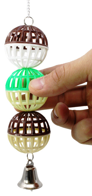 Multi colored Three ball is a fun foraging toy for those little feathered friends in your family.