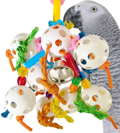 1449 Bubbles is full of explosive fun that will delight your small to medium-sized feathered friend.