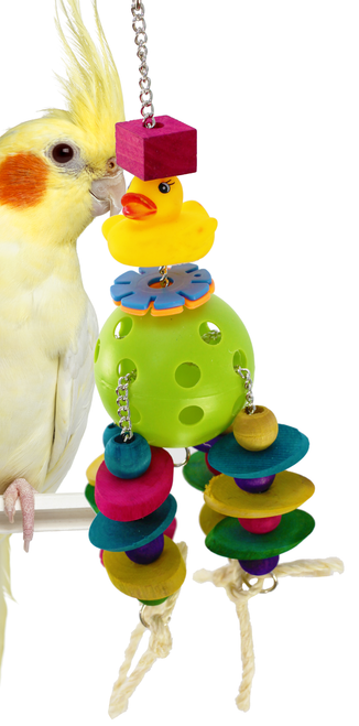 1448 Disc Duck is a fun all around toy that has a little bit of everything for your medium-sized feathered friend.