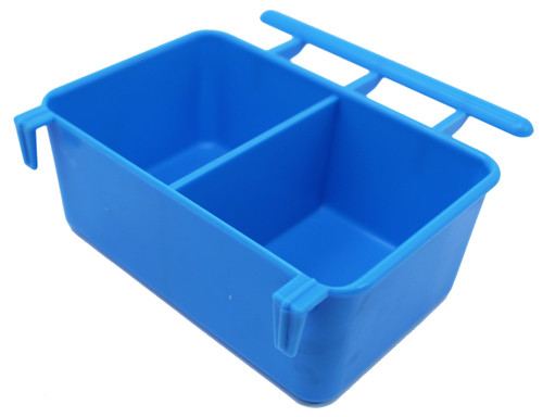 Blue color 36062 3oz Twin feeder, this universal hanging cup is made of plastic and can hold water and food.