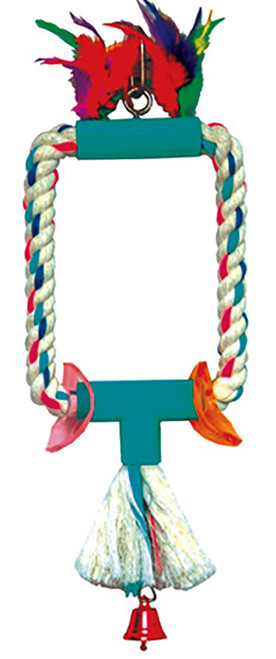 1684 Oblong Swing is a fun time combination perch and swing for your small-sized feathered friends. This soft cotton rope swing comes complete with a tassel for preening fun, two sliding colored plastic loops, a small bell (hidden in tassel) and a sturdy linked hanging chain complete with a quick link.
