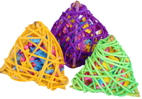 2031 Stuffed Vine Pyramids 3 Pack. Three stuffed vine pyramids, all natural and hand woven these will make a great foot - talon toy for those medium to large-sized birds in your family.