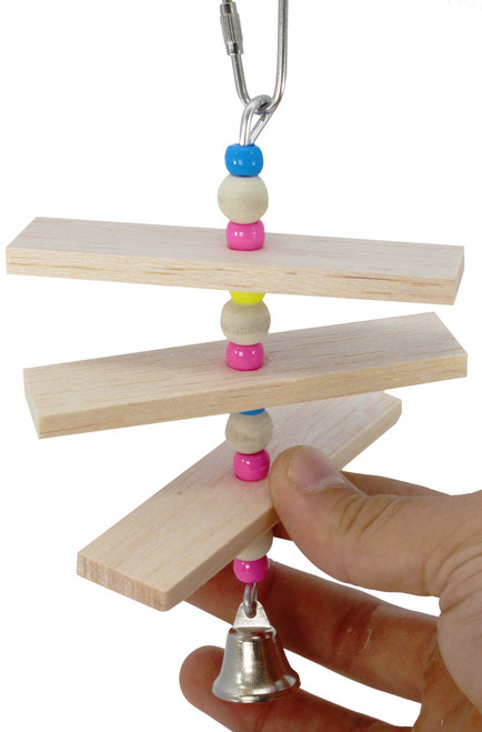 1880 Balsa Step is a simple delight for your small feathered friends, blocks of chewable balsa wood and a small beads await their busy beaks.