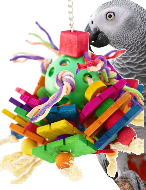 1789 Chippy Cluster, a wonderful and entertaining toy for your medium to large sized feathered friend. Multiple strands of brightly colored wooden blocks.