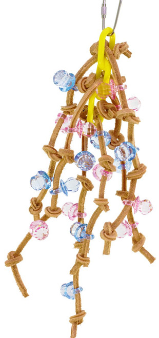 1571 Chain spyder, a wonderful array of tied leather knots decorated with colorful crystal pacifiers woven through a solid plastic link chain.