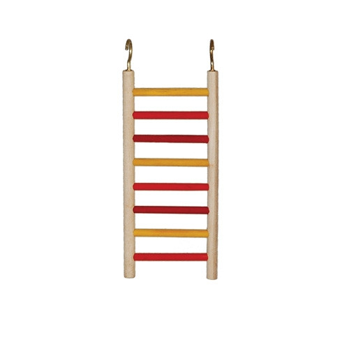1778 Ladders provide a safe climbing and chewing activity, this is made from natural wood sides with red and yellow colored wooden rungs.