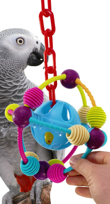 1067 The Orbit bird toy is a spherical delight, this toy will give your small to medium pet hours of endless fun, they will not get bored with the Orbit.