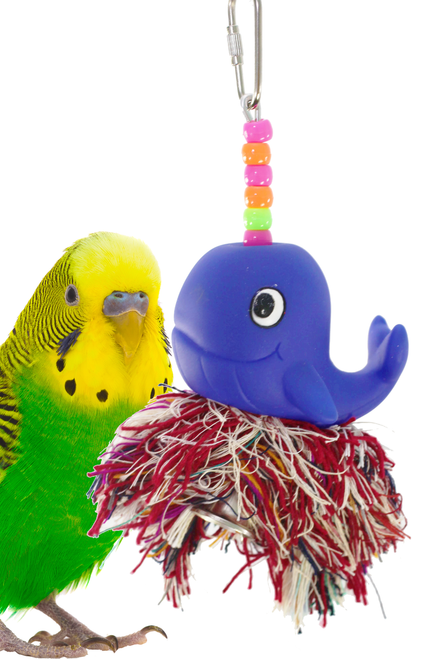 1955 Bonka Bird Toys Moby plucker, your small to medium-sized feathered friends will have a whale of a time with this one, a great plucking and preening toy with a hidden bell inside the soft-colored, cotton rope ball.