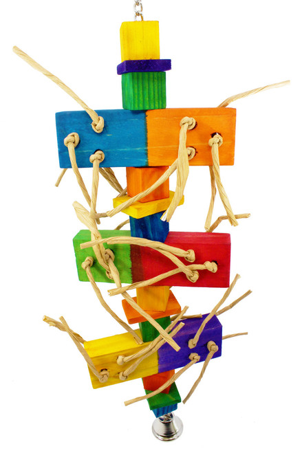 1963 Chew step bird toy is a wonderful array of different colors and textures, your medium to large sized bird will just love to climb, pull and chew on this great looking toy.